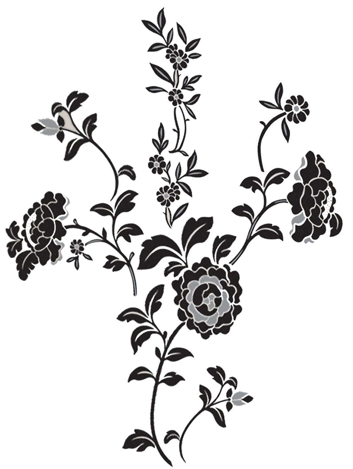 brocade black floral wall art sticker kit black and white flower scroll peel and stick giant wall